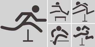 Running hurdles icons Stock Images