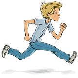 Running and hurrying teen boy. Stock Image
