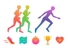 Running Icon Set Stock Photos