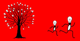 Running ideas. Llustration of a light bulb tree. ai file also available Royalty Free Stock Photos