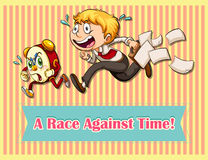 Running. Idiom saying a race against time Stock Photography