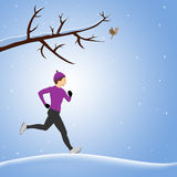 Running In Snow Royalty Free Stock Photography