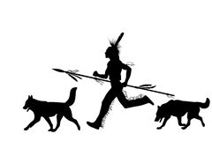 Running indian man with a weapon and dogs Stock Image