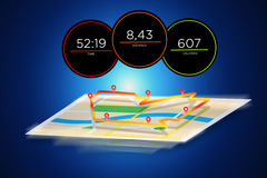 Running interface with data informations  on a backgroun. View of a Running interface with data informations  on a background - sport concept Royalty Free Stock Photo