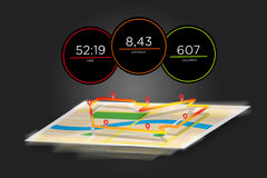 Running interface with data informations isolated on a backgroun. View of a Running interface with data informations isolated on a background - sport concept Stock Photography