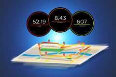 Running interface with data informations isolated on a backgroun. View of a Running interface with data informations isolated on a background - sport concept Royalty Free Stock Photos