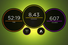Running interface with data informations isolated on a backgroun. View of a Running interface with data informations isolated on a background - sport concept Royalty Free Stock Photo