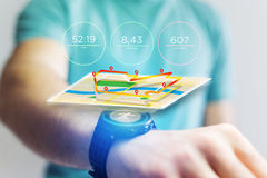 Running interface on a sport smartwatch with data informations. View of a Running interface on a sport smartwatch with data informations Stock Photography