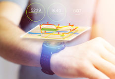 Running interface on a sport smartwatch with data informations. View of a Running interface on a sport smartwatch with data informations Stock Photos