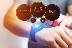Running interface on a sport smartwatch with data informations Royalty Free Stock Photos