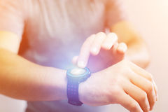 Running interface on a sport smartwatch with data informations. View of a Running interface on a sport smartwatch with data informations Stock Photo