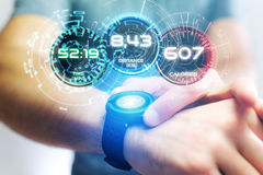 Running interface on a sport smartwatch with data informations. View of a Running interface on a sport smartwatch with data informations Royalty Free Stock Photo