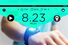 Running interface on a sport smartwatch with data informations. View of a Running interface on a sport smartwatch with data informations Royalty Free Stock Image