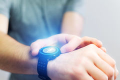 Running interface on a sport smartwatch with data informations. View of a Running interface on a sport smartwatch with data informations Royalty Free Stock Photography