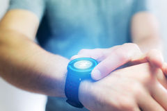 Running interface on a sport smartwatch with data informations. View of a Running interface on a sport smartwatch with data informations Royalty Free Stock Images