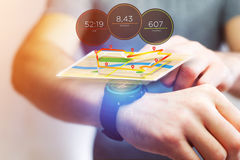 Running interface on a sport smartwatch with data informations. View of a Running interface on a sport smartwatch with data informations Stock Image