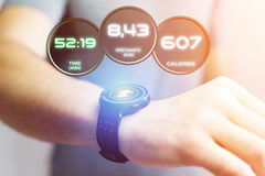 Running interface on a sport smartwatch with data informations. View of a Running interface on a sport smartwatch with data informations Stock Images