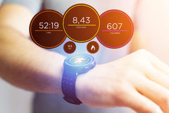 Running interface on a sport smartwatch with data informations. View of a Running interface on a sport smartwatch with data informations Royalty Free Stock Photos