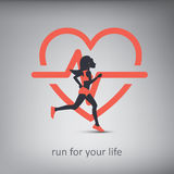 Running or jogging concept illustration with Royalty Free Stock Photos