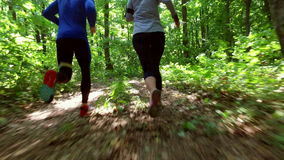 Running jogging in forest. woman training, running, jogging, fitness, runner-4k video