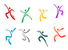 Running, jumping and dancing. Peoples set for sports design Stock Photos