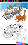 Running katter för färgläggningbok eller sida vektor illustrationer