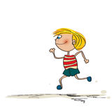 Running kid. Cartoon drawing over white background Stock Photos