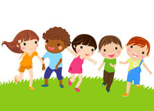 Running kids. Illustration of group of running kids Royalty Free Stock Photo