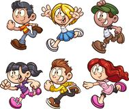 Cartoon boys and girls running royalty free illustration