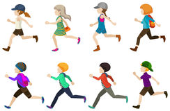 Running kids. Illustration of many running teenagers Stock Photography