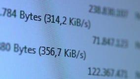 Running Kilobytes per second stock footage
