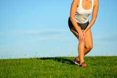 Running knee injury Royalty Free Stock Image