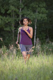 running kvinna arkivfoto