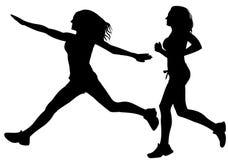 running kvinna för silhouettesportvektor Arkivfoto