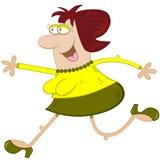 running kvinna för tecknad filmtecken Arkivfoto