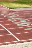 Running Lanes, 5. Lane markings at a college running track Stock Images