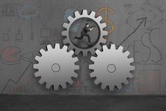 Running in large gears Royalty Free Stock Photography