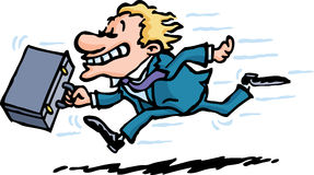 Running Late. A businessman's running late for a meeting vector illustration