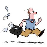 Running late. Business man / employee running late for work stock illustration