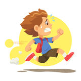 Running Late To School. A boy running hurriedly because he late to go to school vector illustration