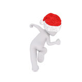 Running or leaping figure in santa hat Royalty Free Stock Photography