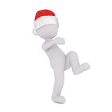 Running or leaping figure in santa hat Royalty Free Stock Images