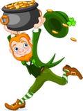 Running Leprechaun. Cute  cartoon Leprechaun running with pot of gold Royalty Free Stock Image
