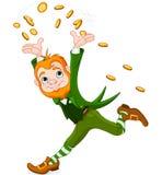 Running Leprechaun. Cute running Leprechaun throwing gold coins into the air Stock Photos