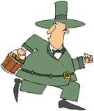 Running Leprechaun Carrying A Bucket Of Gold Stock Photos