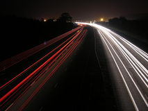 Running Lights. Light Trails on the Motorway Royalty Free Stock Photography