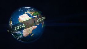Running line with popular cryptocurrency revolves around a planet Earth globe stock footage
