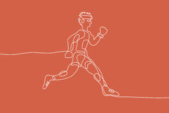 Running. Linear line graphic. Running graphic using single line to design and form the shape of Runner Stock Photo