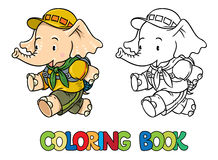 Running little baby elephant. Coloring book. Scout Stock Photography