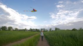 Running little boy in hat and shirt plays with flying kite at green field on background of sky, happy childhood on. Running little boy in hat and plaid shirt stock video footage